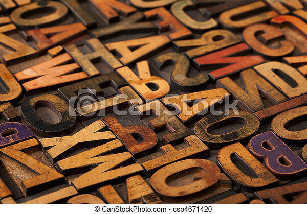 alphabet abstract in vintage printing blocks - csp4671420