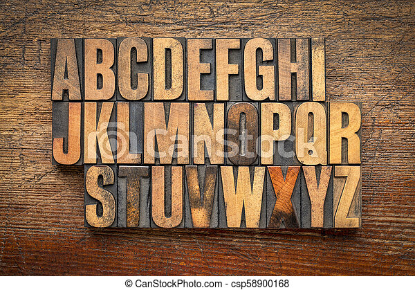 alphabet abstract in vintage wood type - csp58900168