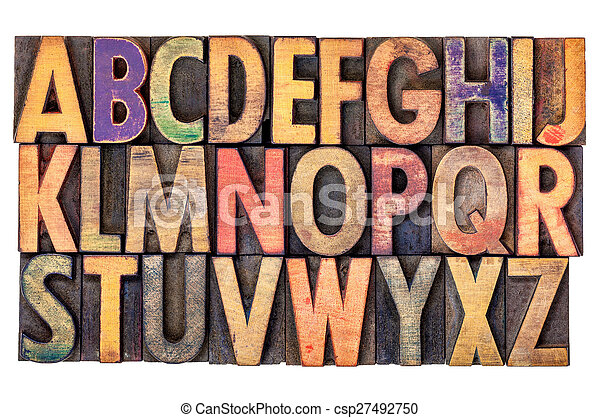 alphabet abstract in vintage wood type - csp27492750