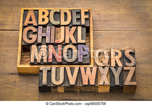 alphabet abstract in vintage wood type - csp56005756