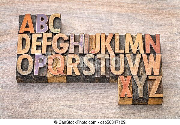 alphabet abstract in vintage wood type - csp50347129