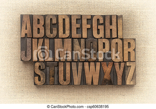 alphabet abstract in vintage wood type - csp60638195