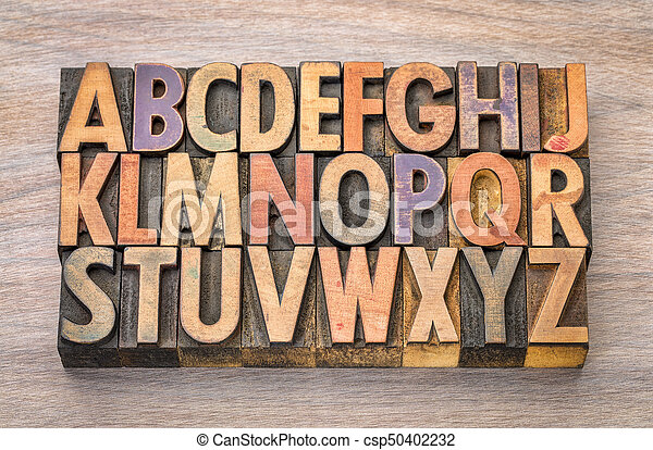 alphabet abstract in vintage wood type - csp50402232
