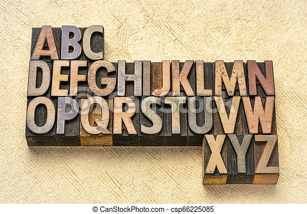 alphabet abstract in wood type - csp66225085