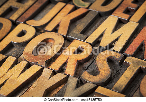alphabet abstract in wood type - csp15185750