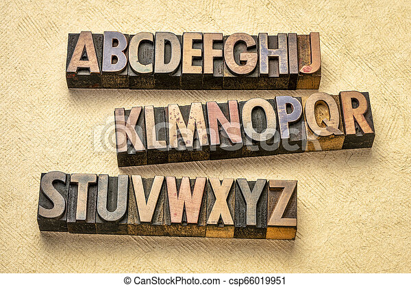 alphabet abstract in wood type - csp66019951