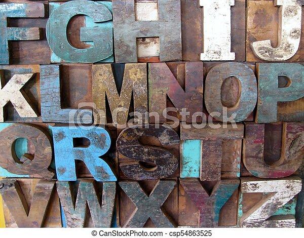 Alphabet abstract - vintage wooden letterpress types. - csp54863525