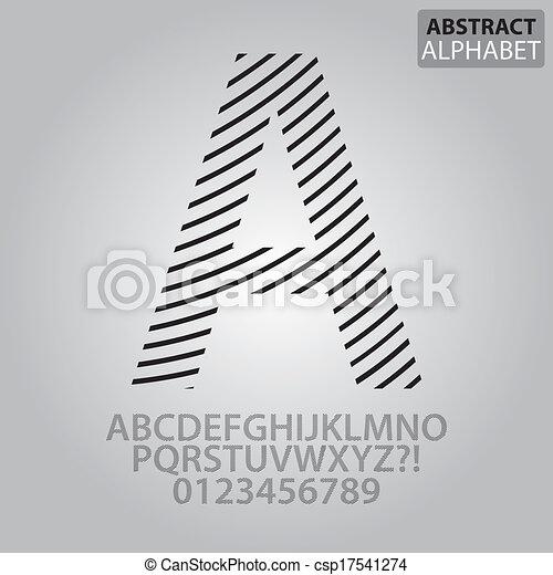 alphabet, abstrakt, vektor, linie, zahlen - csp17541274