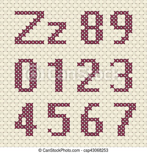 Alphabet and number in cross stitch pattern. - csp43068253