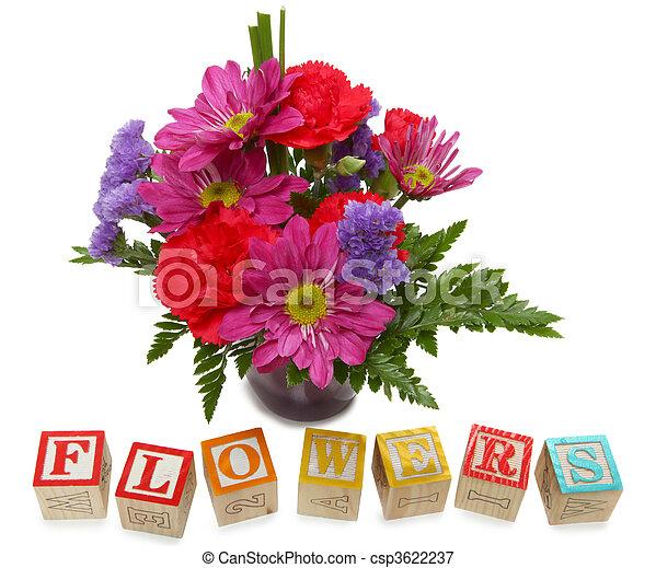 Alphabet Block Flowers - csp3622237