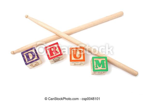 Alphabet Blocks and Drum Stick - csp0048101