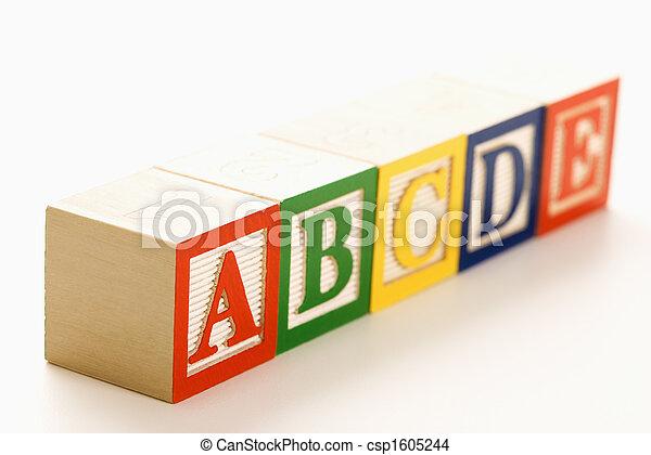 Alphabet blocks in a row. - csp1605244