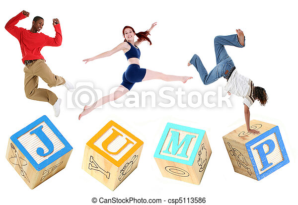 Alphabet Blocks JUMP with People Jumping - csp5113586