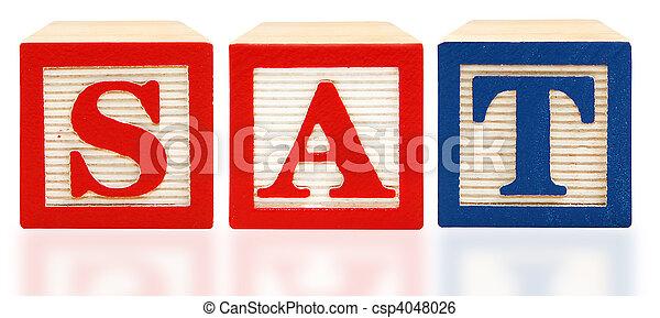 Alphabet Blocks SAT Scholastic Assessment Test - csp4048026