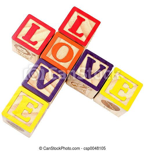 Alphabet Blocks Spelling Love In Criss Cross Style - csp0048105