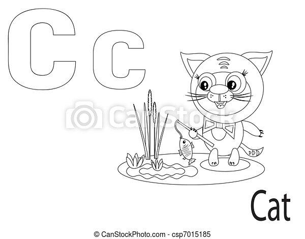 Alphabet, c, färbung, kinder Clipart Vektor - Suche Illustration ...