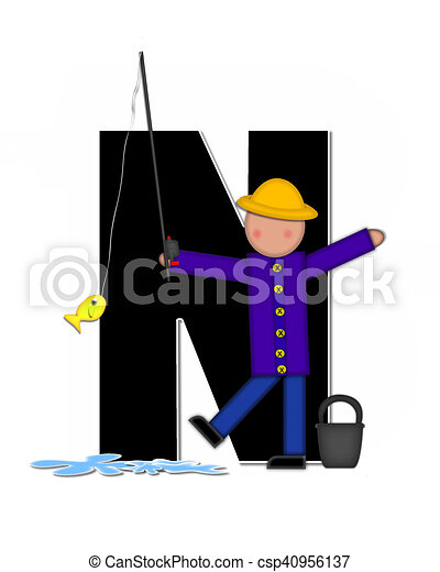 alphabet children gone fishing n the letter n in the drawings rh canstockphoto com  gone fishing sign clipart