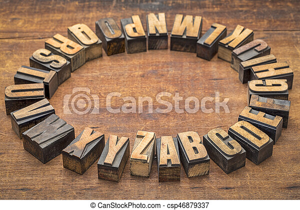 alphabet circle in vintage letterpress wood type - csp46879337