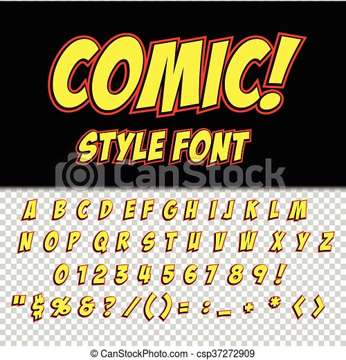 Alphabet collection set. Comic pop art style. Letters, numbers and figures for kids' illustrations, websites, comics - csp37272909