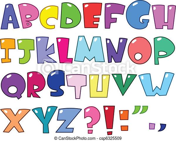 alphabet, dessin animé - csp6325509