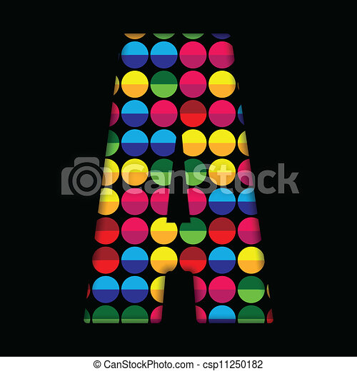 Alphabet Dots Color on Black Background A - csp11250182