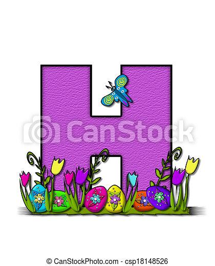 Alphabet easter egg garden h The letter h in the alphabet set