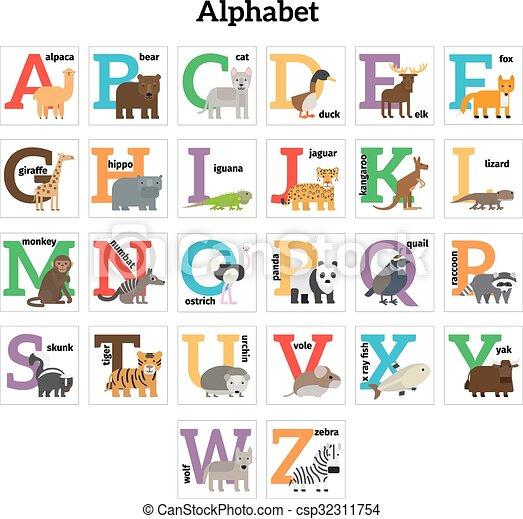 alphabet englisches tiere zoo kinder alphabet