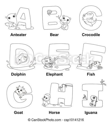 Alphabet, färbung, kinder Vektor Clipart - Suchen Sie Illustration ...