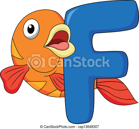 Alphabet F With Fish Cartoon Csp