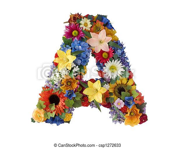 alphabet, fleur, - - csp1272633