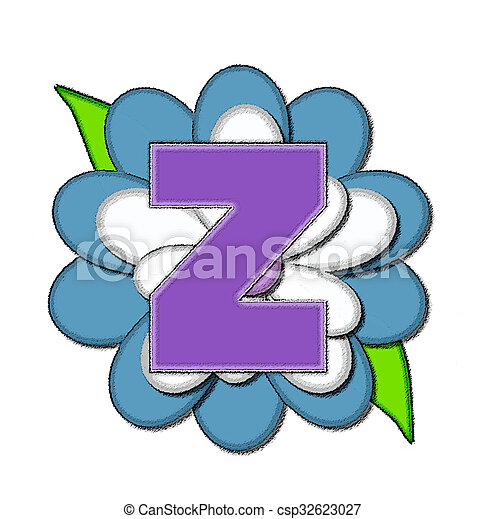 Alphabet flower pin blue z the letter z in the alphabet set alphabet flower pin blue z csp32623027 spiritdancerdesigns Image collections