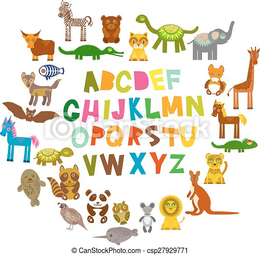 alphabet for kids from a to z set of funny cartoon animals character zoo on white background - Kids Cartoon Animals