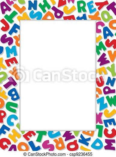 Alphabet Frame, White Background - csp9236455