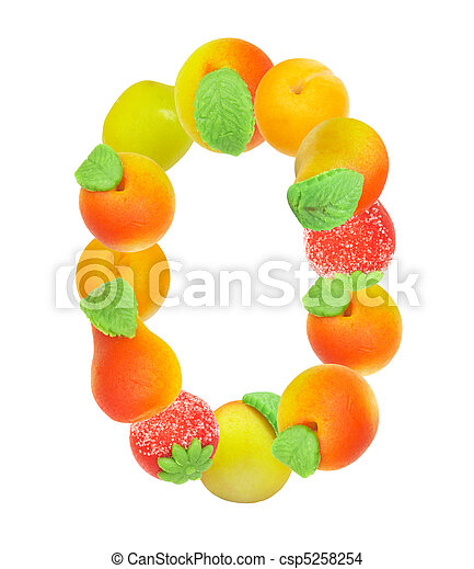 alphabet from fruit, the number 0 - csp5258254