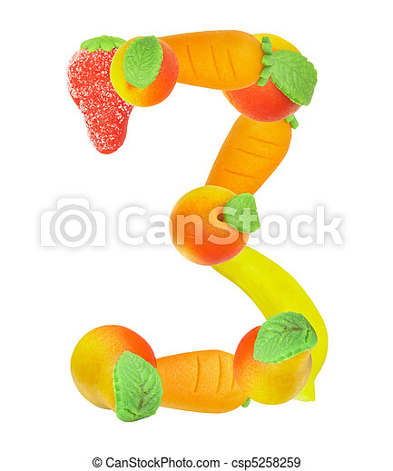 alphabet from fruit, the number 3 - csp5258259