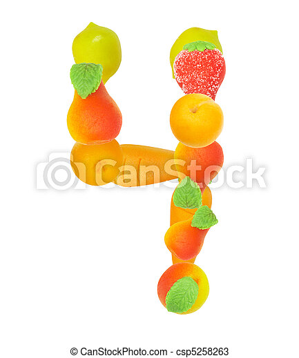 alphabet from fruit, the number 4 - csp5258263
