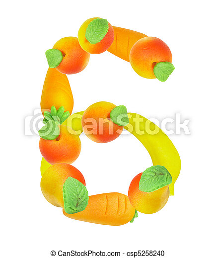 alphabet from fruit, the number 6 - csp5258240