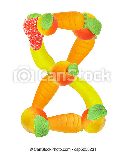 alphabet from fruit, the number 8 - csp5258231