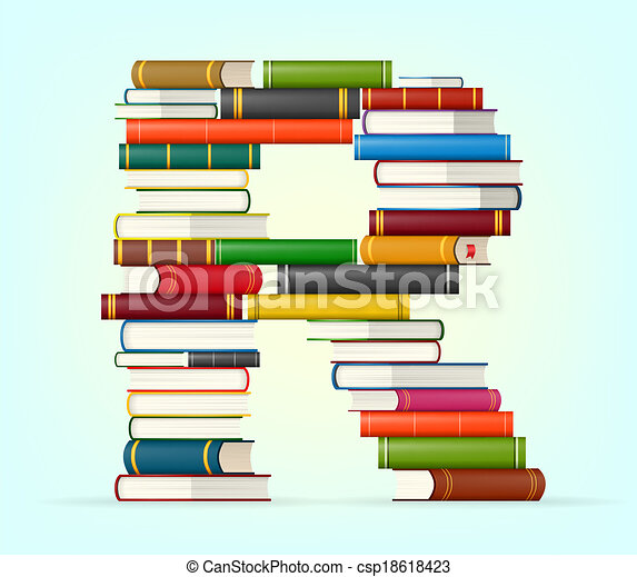 Alphabet from stacks of multi colored books - csp18618423