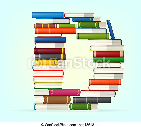 Alphabet from stacks of multi colored books - csp18618111