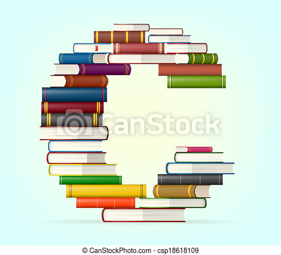 Alphabet from stacks of multi colored books - csp18618109