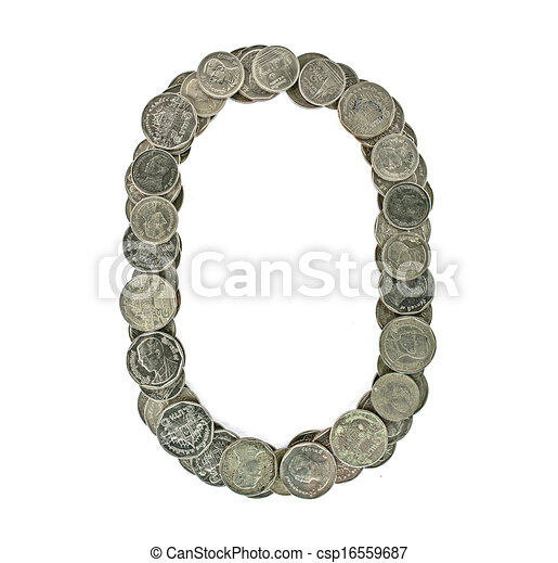 Alphabet from the Thai coins  isolated on white background Check my port  for a seamless version