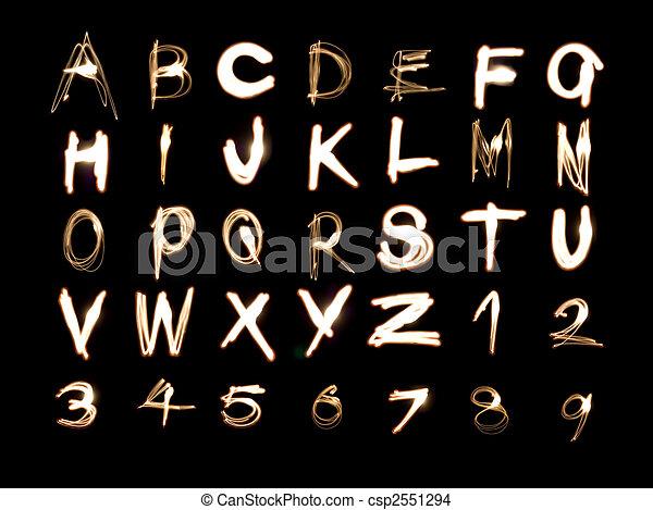 alphabet, gemälde, zahlen, licht - csp2551294