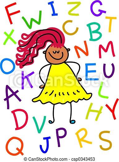 alphabet, girl - csp0343453