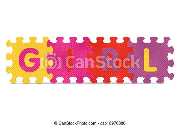 alphabet, girl, puzzle, écrit - csp18970886
