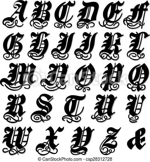 Alphabet gothique complet d coratif tourbillons - Alphabet complet ...