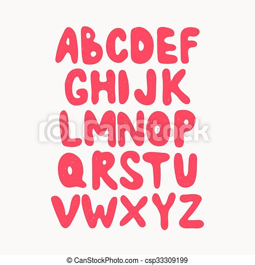 Alphabet. Hand drawn letters isolated on dark background. - csp33309199