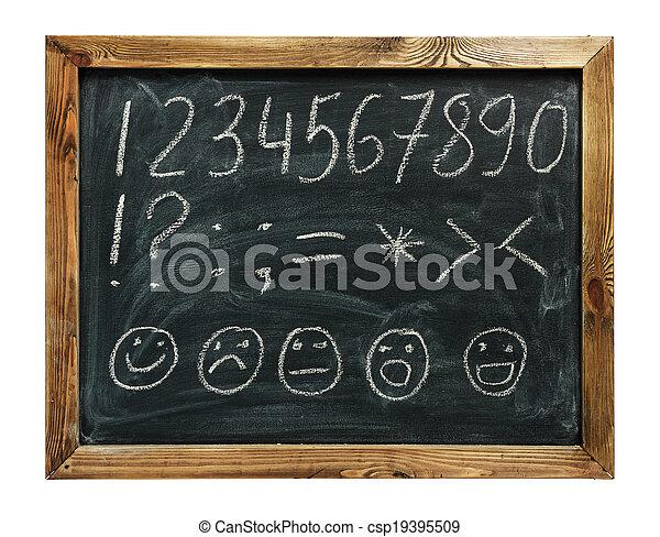 alphabet handwritten on a blackboard - csp19395509