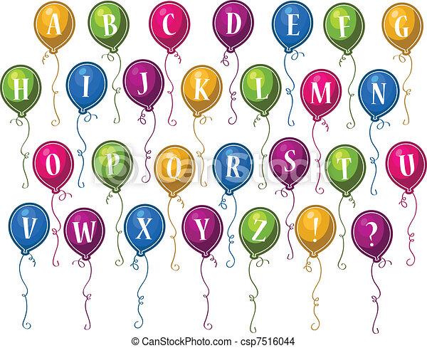 Alphabet Happy Birthday Balloons - csp7516044