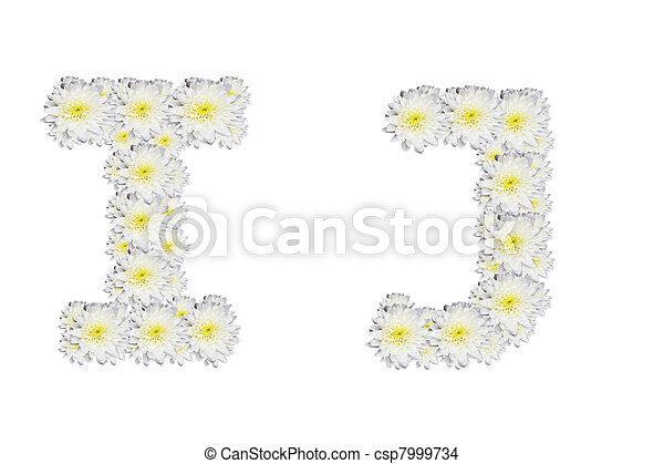 Alphabet IJ, white flower - csp7999734